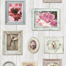 Muriva Wood Natural Shabby Chic Rustic Home Sweet Home Feature Wallpaper 102566