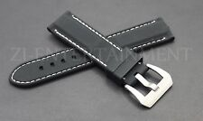 24MM Soft Black White Rubber Strap band Steel Buckle Replacement Panerai Luminor