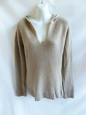 100% Cashmere Sweater Size M Taupe Hoody Womens Bloomingdales Tunic 40 Chest