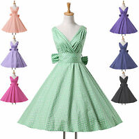 RETRO 50s STYLE COTTON SWING VINTAGE PIN UP POLKA DOTS DRESS 6 COLORS