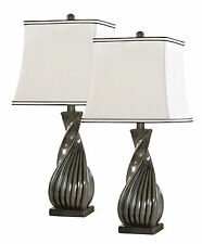 Kings Brand Grain Gray With White Fabric Shade Table Lamp (Set of 2 Lamps)