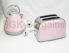 PINK Matching Kitchen Set 1.8L Electric Cordles Kettle 2 Slice Bagel Toaster AB