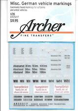 Archer Misc. German Common Vehicle Markings, Dry Transfers 1/35 AR35217 ST