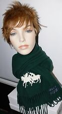 NEW POLO RALPH LAUREN GREEN UNISEX LAMBS WOOL SCARF MADE IN ITALY