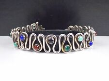Artisan Sterling Silver 925 Abstract Modern Eternity Bangle Bracelet Multi Stone