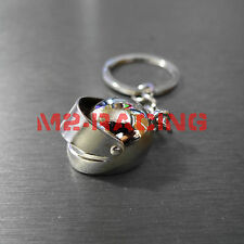 Chrome Helmet Motorcycle Bike Auto Racing Tuning Part Keychain Keyring Gift