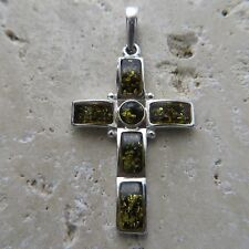 Natural, Green BALTIC AMBER Cross Pendant, solid 925 STERLING SILVER #1756