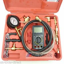 Fuel Pressure Test Kit With Multi Meter Test Gauge Banjo Bolt Gm-TBI Shrader
