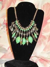 SIMPLY VERA WANG NWT $38 women's necklace  gold elegant clear green stones