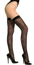 XL Black Back Seamed Spider Web Thigh Hi Stockings Sexy Designer Lingerie P4770