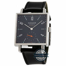 Nomos Tetra Neomatik 33mm Steel Automatic Blue Dial Black Strap Watch 422