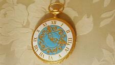Itialian made Pocket Watch Compact Mint Condition Powder Blue enamel gold