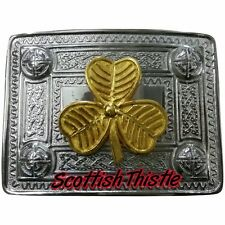 Men's Celtic Kilt Belt Buckle Irish Shamrock Chrome & Golden/Shamrock Buckles