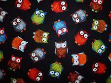 CLEARANCE FQ CUTE FUNKY OWLS BIRDS FABRIC FOLK