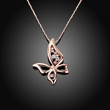 Crystal Butterfly Pendant 18K Rose Gold Plated Necklace Women Costume Jewelry