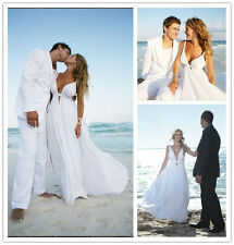 Sexy Chiffon Beach Wedding Dress Bridal Gown Custom Size 4 6 8 10 12 14 16 18+