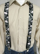 "New, Men's, Lightning & Skulls on Black, XL, 1.5 "", Suspenders / Braces, USA"
