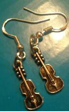 Antique Drop Dangle Silver Tone Violin Earrings/Sterling Silver Hook US Seller!