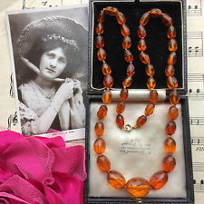 Antique Victorian Genuine Faceted Amber Beads Necklace In Antique Box ReThreaded