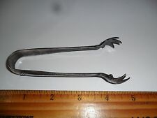 "ANTIQUE SILVER PLATED SUGAR TONG ""ELMWOOD EP PAT. 1915"" 4 3/4 LONG X 3/4 AT TONG"