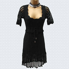 Karen Millen Black Vintage Style Hand Crochet Cocktail Tunic Mini Dress 1 UK-8