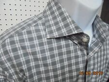 Boss Hugo Boss Men's Gray Plaid Slim Fit Button Down Front Shirt  16 1/2 34/35