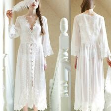 Sexy See-through Princess Chiffon Lace Nightdress Pajamas Suits Sleepwear White