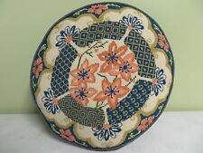 "Mid Century Round Pillow Hand Made Needlepoint Flowers Zipper  16"" X 15"" Nice"