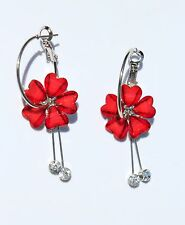 Earring Sparkle Heart Plumeria Flower Dangle Hawaii Luau CZ Long Drop Red