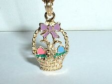 14k YELLOW GOLD ENAMEL 3D EASTER BUNNY RABBIT EGG BASKET PENDANT CHARM