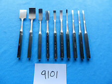 "Zimmer Orthopedic Chisel Set Curved & Straight 9 1/2""   Lot of 10"