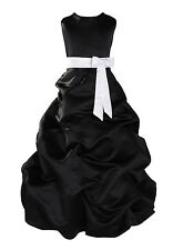 New Black and White Sash Bridesmaid Party Flower Girl Dress 9-11 Years