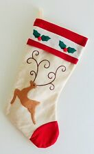 "Ivory Felt Christmas Stocking w/Stag Deer  Holly Trim 18""  NWOT"