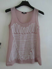Long Pink - Lilac & White See Through Sleeveless / Vest Top by ASOS in Size 8