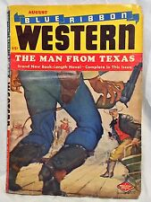 """VINTAGE 1948; VOL 10; No. 6 Blue Ribbon WESTERN """"The Man from Texas"""" PULP BOOK"""