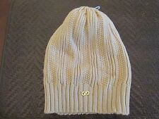 NWT COLE HAAN Women Seed Stitch Wool Blend Beige Slouchy Beanie Hat One Size