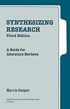 Synthesizing Research: A Guide for Literature Reviews (Applied Social -ExLibrary