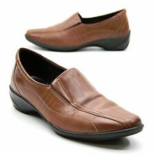 ECCO Shine Slip On Ladies 38 (about 7.5) Stretch Wedge Comfort Walking Loafers