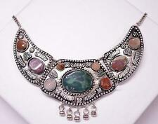 STATEMENT ANTIQUE INDIAN GYPSY METAL STONE ENGRAVING COLLAR NECKLACE GREEN
