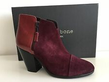 RAG & BONE MARGOT BURGUNDY  LEATHER & SUEDE BOOTS, SIZE 35