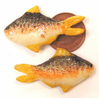 1:12 Scale 2 Loose Fish For A Dolls House Miniature Kitchen Or Shop Accessory X