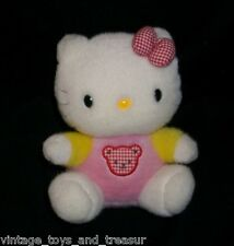 "6"" 1999 SANRIO BABY HELLO KITTY SITTING BEAR ON SHIRT STUFFED ANIMAL PLUSH TOY"