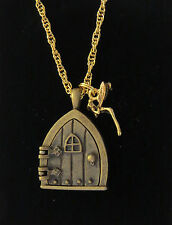 Gothic Fairy Door Tinkerbell Wish Necklace 24 Karat Gold Plate & Antiqued Brass