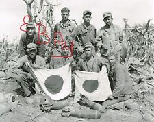 WWII  8X10 PHOTO OF 5TH US MARINES WITH CAPTURED JAPANESE FLAGS ON IWO JIMA LOOK