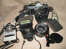 Canon AE-1 Program 35mm Camera w/2 Lens, FD f/1.8 50mm & 28-70mm f1:3.5-4.5 Zoom