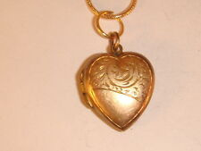 Vintage 9ct Gold  Heart-shape Locket with 22ct  Gold Plated Chain