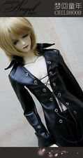Super long Black Leather Coat for BJD 1/4 MSD 1/3 SD17 Uncle Doll Clothes CM7