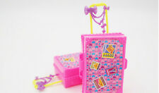 Kids Toy Plastic 3D  Travel Suitcase Luggage Case Trunk For Barbie Doll H