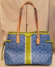 NWT Coach Signature Stripe Drawstring Carryall Tote Handbag Blue/ Green F29064