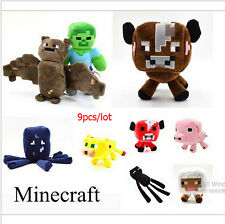 New Hottest Minecraft Plush Stuffed 9pcs of 1 Set Action Figure Toy Animals